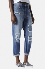 Topshop Moto and39Haydenand39 Patchwork Boyfriend Jeans at Nordstrom