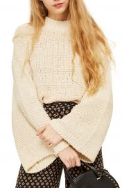 Topshop Natural Yarn Bell Sleeve Sweater at Nordstrom