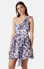 Topshop One-Shoulder Floral Chiffon Dress at Nordstrom