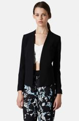 Topshop Open Front Blazer in black at Nordstrom