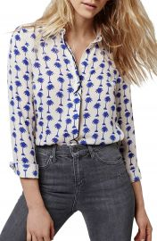 Topshop Palm Print Long Sleeve Shirt at Nordstrom