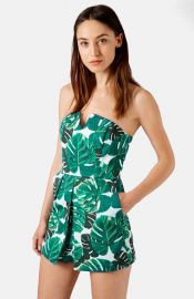 Topshop Palm Print Notched Neck Romper at Nordstrom
