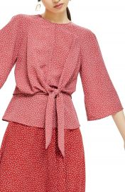 Topshop Petite Spot Knot Front Blouse at Nordstrom