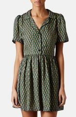 Topshop Piped Tile Print Shirtdress at Nordstrom