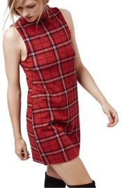 Topshop Plaid Funnel Neck Tunic Dress at Nordstrom