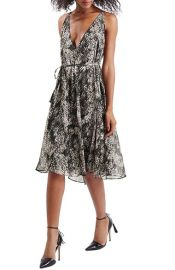 Topshop Python Print V-Neck Midi Dress at Nordstrom