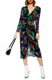 Topshop Raven Floral Midi Dress at Nordstrom