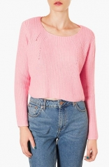 Topshop Ribbed Crop Sweater in pink at Nordstrom
