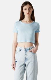 Topshop Ribbed Crop Tee at Nordstrom