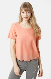 Topshop Scallop Frill Tee in Peach at Nordstrom