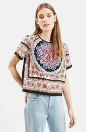 Topshop Scarf Print Short Sleeve Shirt at Nordstrom