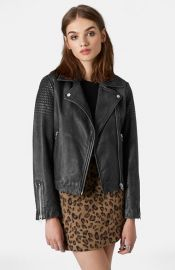 Topshop Sheepskin Leather Biker Jacket at Nordstrom