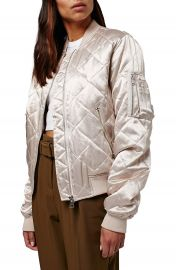 Topshop Shiny Quilted Bomber Jacket at Nordstrom