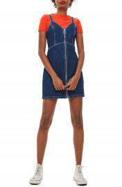 Topshop Sleeveless Front Zip Denim Dress at Nordstrom
