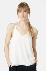 Topshop Strappy V-Neck Camisole in Cream at Nordstrom