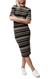 Topshop Stripe Body-Con Midi Dress at Nordstrom