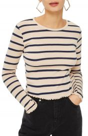 Topshop Stripe Lettuce Hem Crop Top  Regular   Petite at Nordstrom