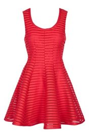 Topshop Stripe Mesh Skater Dress in Red at Nordstrom