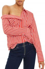 Topshop Stripe Off the Shoulder Top  Regular   Petite at Nordstrom