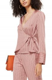 Topshop Stripe Wrap Blouse at Nordstrom