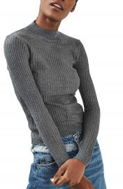 Topshop Textured Stripe Mock Neck Sweater at Nordstrom