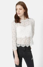 Topshop Three-Quarter Sleeve Crochet Top at Nordstrom