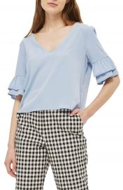 Topshop Tie Back Ruffle Sleeve Top at Nordstrom