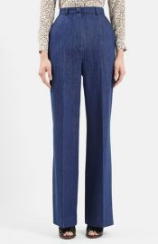 Topshop Unique David Wide Leg Denim Trousers at Nordstrom