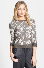 Topshop and39Chateau Bronzeand39 Metallic Print Sweater at Nordstrom