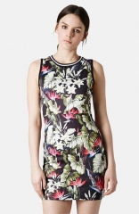 Topshop and39Island Lifeand39 Tropical Print Body-Con Dress at Nordstrom