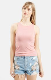 Topshop and39Kimand39 Rib Jersey Tank in pink at Nordstrom