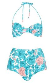 Topshop and39Savannahand39 Plunge High Waist Floral Bikini at Nordstrom