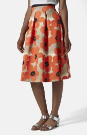 Topshop and39Sunscratchand39 Floral Print Scuba Midi Skirt at Nordstrom