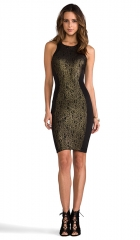 Torn by Ronny Kobo Shiran Dress in Gold and Black  REVOLVE at Revolve