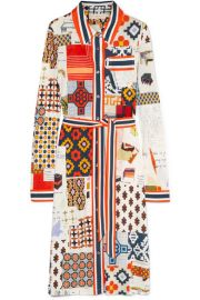 Tory Burch   Laurence printed jersey midi dress at Net A Porter