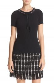 Tory Burch  Pelham  Embellished Ribbon Neck Ribbed Sweater at Nordstrom