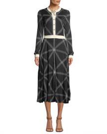 Tory Burch Anja Diamond-Stitch Midi Dress at Neiman Marcus