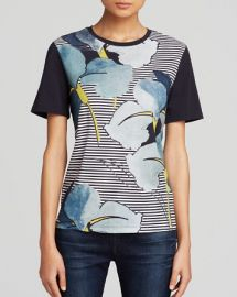 Tory Burch Cathy Floral Stripe Tee at Bloomingdales