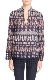 Tory Burch Crochet Trim Print Cotton Tunic at Nordstrom