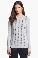 Tory Burch Etta Embellished Crewneck Sweater at Nordstrom
