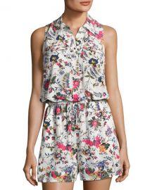 Tory Burch Gabriella Floral-Print Coverup Romper  White Pattern at Neiman Marcus