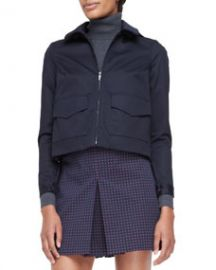 Tory Burch Lane Back-Pleated Bifabric Jacket at Neiman Marcus