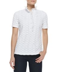 Tory Burch Lidia Lace and Ruffles Polo Shirt at Neiman Marcus