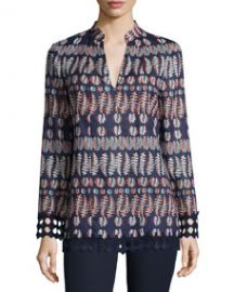 Tory Burch Long-Sleeve Printed Tunic Tory Navy at Neiman Marcus