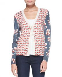 Tory Burch Shia Mixed-Print Wool Cardigan at Neiman Marcus