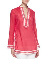 Tory Burch Tory Embroidered Split-Neck Tunic at Neiman Marcus