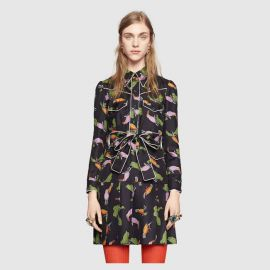 Toucan Print Silk Shirtdress at Gucci