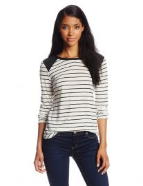 Townsen striped faux leather shoulder top at Amazon