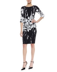 Tracy Reese 34-Sleeve Ruched-Waist Dress BlackWhite Floral at Neiman Marcus