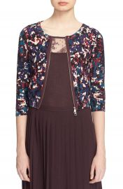 Tracy Reese Front Zip Print Cotton Cardigan at Nordstrom